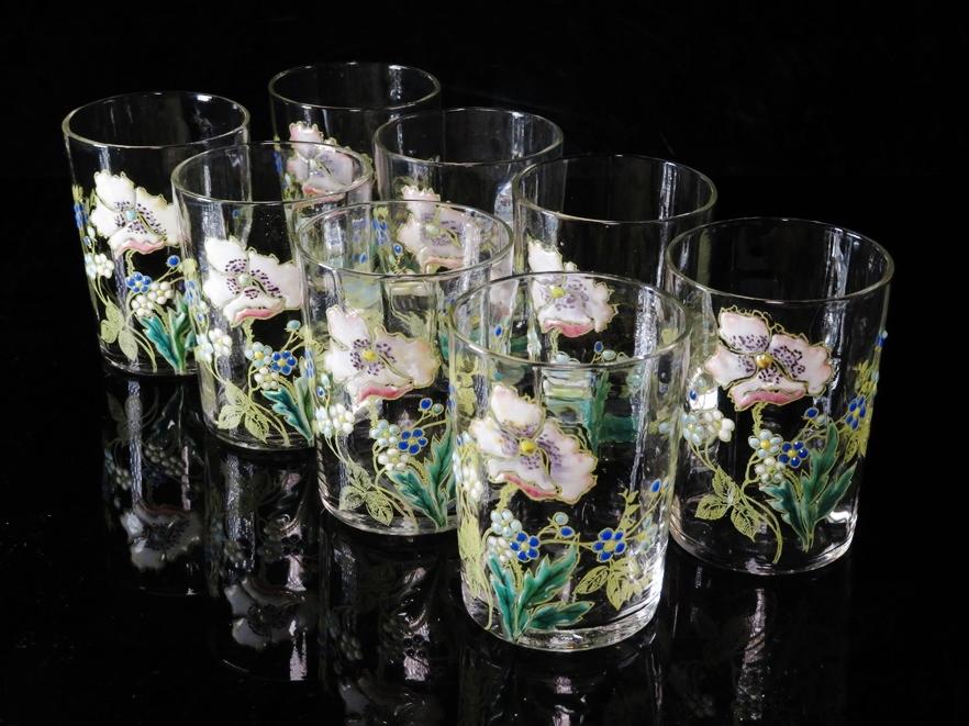 【№498】「19世紀 ウラン硝子 花之図グラス8客」