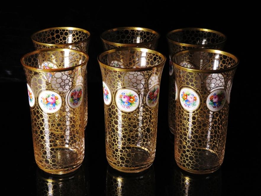 【№499】「19世紀 イギリス製 金彩丸紋グラス6客」