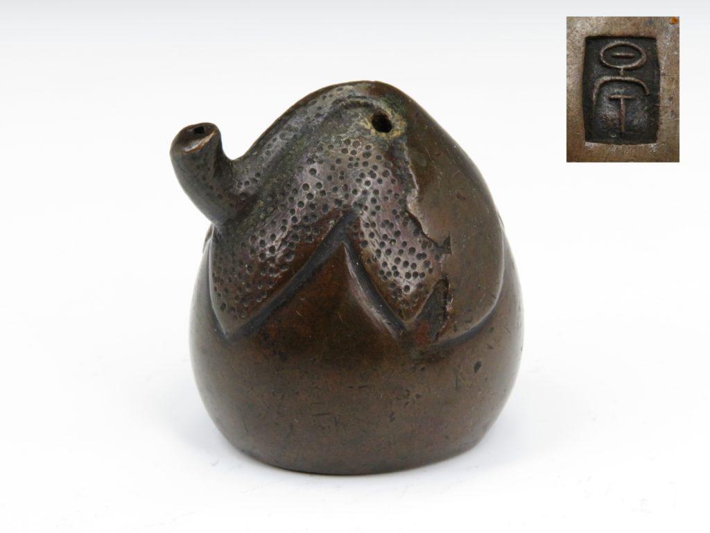 №55「銅製 銀象嵌 茄子型水滴」