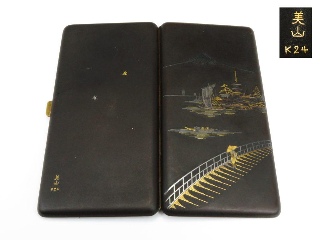 №130「鉄地 富士山百景図金銀象嵌シュガレットケース